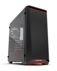Phanteks Eclipse P400 Black/Red Tempered Glass- RGB illumination Mid-Tower Case